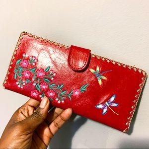 Lavishy   Red Floral Embroidered Wallet
